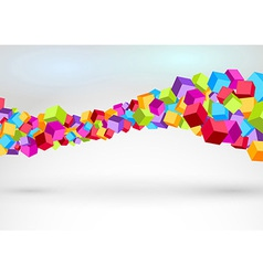 Cubes forming colorful swoosh wave vector