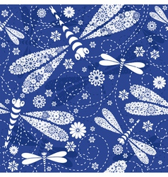dark blue floral pattern vector image
