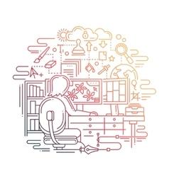 Designer at work - line design vector