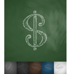 dollar icon Hand drawn vector image vector image