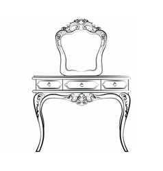 Dressing table with mirror vector