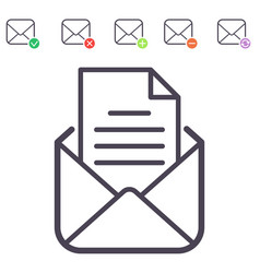 email letter icons set envelope cover vector image vector image