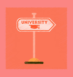 Flat shading style icon university sign vector