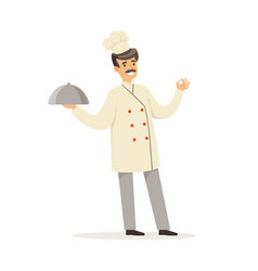friendly male chef character in uniform holding vector image vector image