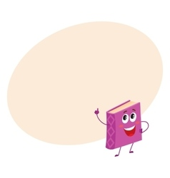 Funny purple book character pointing up with index vector