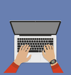 hands on laptop keyboard with blank screen monitor vector image