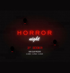 horror night light banner modern neon billboard vector image