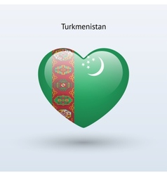 Love Turkmenistan symbol Heart flag icon vector image vector image