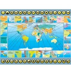 Map Elements with World Map vector image