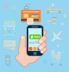 Mobile payment concept in flat design vector