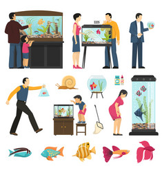 People and aquaria set vector