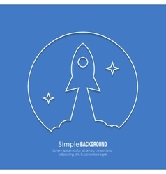 Rocket startup line art poster vector image vector image