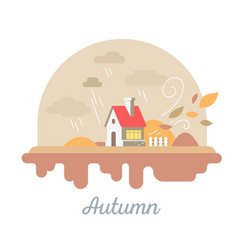 Seasonal of beautiful house with chimney and vector