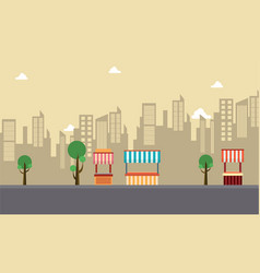Street stall with building vector