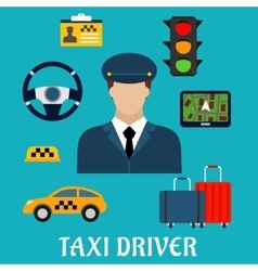 Taxi driver profession flat icons vector image vector image