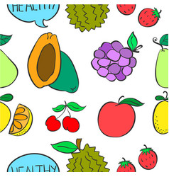 various fruit colorful doodle style vector image vector image