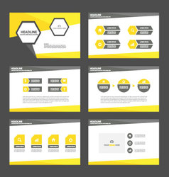Yellow black presentation templates infographic vector