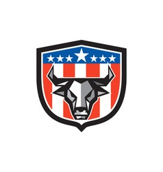 Bull cow head usa flag crest low polygon vector