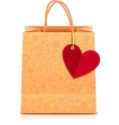 Ornate paper shopping bag with heart label vector