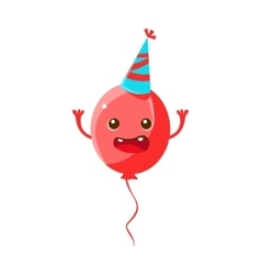 Balloon wearing party hathappy birthday and vector