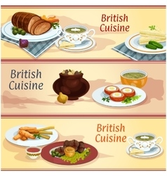 British cuisine main and snack dishes banner set vector