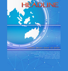 Blue global template for brochure or magazine cove vector