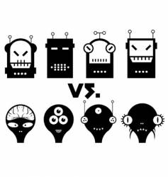 robot vs alien vector image