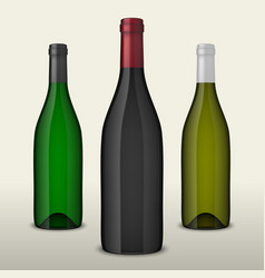 Set of three realistic wine bottles without vector