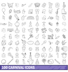 100 carnival icons set outline style vector