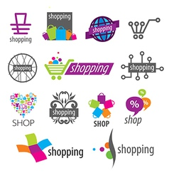 Collection of logos shopping discounts vector