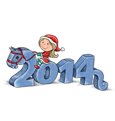 2014 Horse and Little Santa vector image