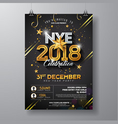 2018 new year party celebration poster template vector image