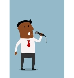 Businessman on the presentation with microphone vector image
