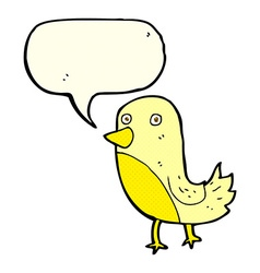 Cartoon yellow bird with speech bubble vector
