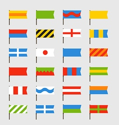Different color flags set vector