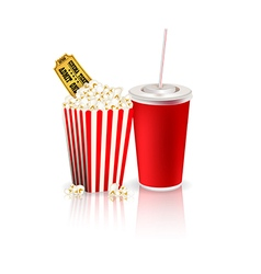 Popcorn with drink and tickets vector