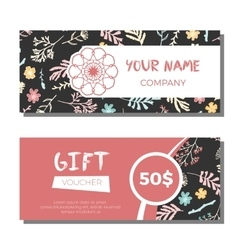 Gift vouchers with floral background vector