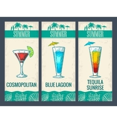 Alcohol cocktail set cosmopolitan blue lagoon vector