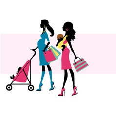 Two chick moms shopping vector
