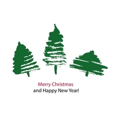 Christmas card with three hand drawn trees vector