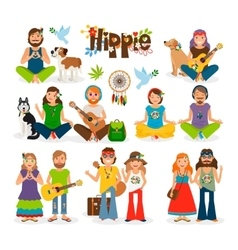 Hippie people icon set vector image