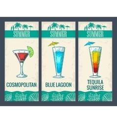 Alcohol cocktail set Cosmopolitan blue lagoon vector image
