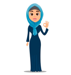 arabic woman showing ok gesture cute vector image vector image
