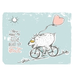 Bear on bike with balloon vector image vector image