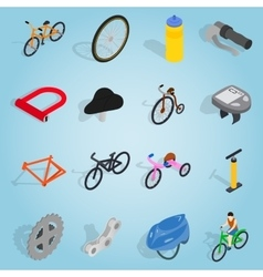 Bicycle set icons isometric 3d style vector image