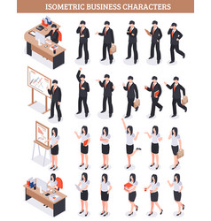 business characters isometric set vector image vector image