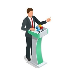 Business man giving a presentation in a conference vector