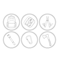 Camping linear icons set vector image