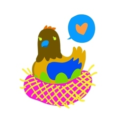 Cartoon hen flat mascot icon vector image