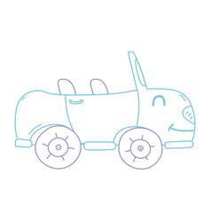 color line kawaii smile sport car transport vector image